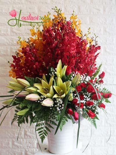 Bình hoa lan ly chúc mừng sang trọng