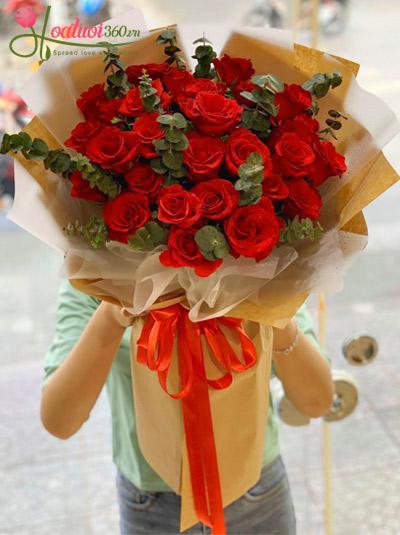 Bó hoa hồng đỏ - Sắc môi em hồng