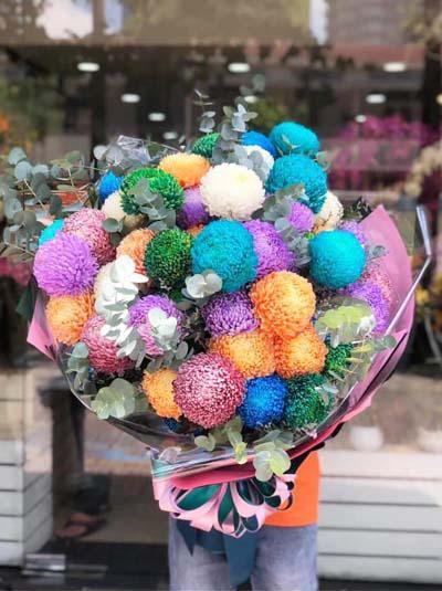 Bó hoa cúc mẫu đơn siêu to khổng lồ