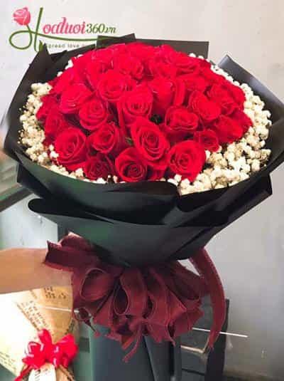 Bó hoa hồng đỏ baby đốn tim nàng