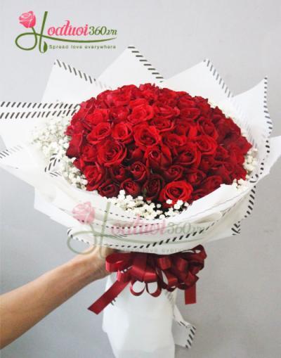 Bó hồng đỏ kết hợp hoa baby trắng